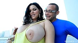 Cuban slut Angelina Castro polishes a big dick and gets her plump ass fucked