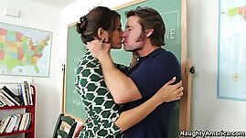 Seductive school teacher Raylene gets her horny pussy licked hard by her student
