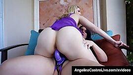 Cuban BBW Angelina Castro Fucks Joslyn Jane With big Fake Cock!