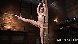 Extreme bondage and vibrator for blonde