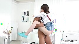 Adorable slender teenie gets her pink cunt and tiny asshole plowed