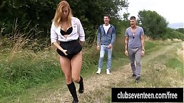 Catholic schoolgirl take two dicks outdoors