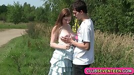 Busty teenager fucked outdoors