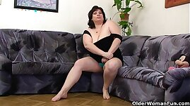 Busty and mature masturbates with her vibrator
