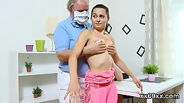 Doctor assists with hymen examination and virginity loss of virgin teen
