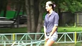 Sexy amateur pissing in public place