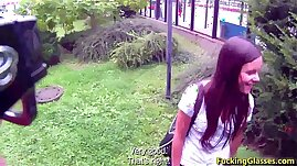 Fucking Glasses gets Fucked for cash near the bus stop Amanda